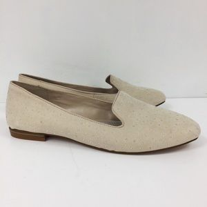 Gianni Bini Cream Suede Loafers Studded